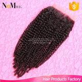 Parte Curly Kinky do fechamento do Weave do cabelo de Remy do Afro do fechamento do laço do cabelo da beleza da rainha