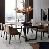 Mobili da tavolo moderni per la tavola da pranzo Sedie in legno PU Sedile in legno massello di pattini in legno di frassino
