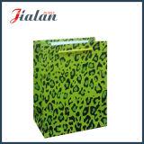 Saco de papel laminado Matte do presente do portador da compra do papel de arte do leopardo