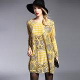 Gelbe Drucken-Strickjacke für Frauen-Überformatpullover-Großverkauf
