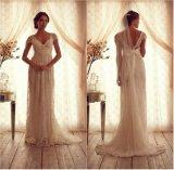 O tampão de Anna do vestido de casamento do laço Sleeves o vestido nupcial M154 da praia