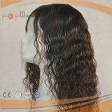 Mode noir ondulé perruque de cheveux humains Remy Silicone (PPG-L-02525)