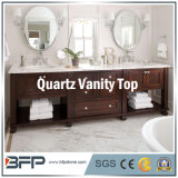 Couleur légère des dessus de vanité de quartz de la Chine pour des meubles de salle de bains