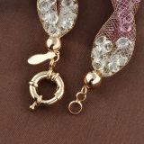 Braccialetto a cristallo di pietra variopinto placcato oro Handmade della maglia della lega degli accessori