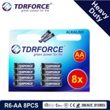 1.5V China Fertigung-Hochleistungsbatterie für Rauch Detetor (R6-AA 8PCS)