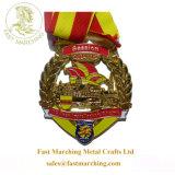 カスタム安い切り分けられた円形浮彫り3Dデザインリボン記念品によって刻まれるメダル