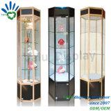 Vetrina girante con gli indicatori luminosi, Governo di vetro di giro elettrico della visualizzazione di esagono per la visualizzazione del negozio