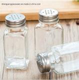 Bottiglia libera del vetro da bottiglia della spezia del quadrato dell'articolo da cucina del vaso della spezia di Samlple con il coperchio del metallo