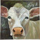 Qualitäts-handgemachte Bauernhof-Kunst-weiße Kuh-Ölgemälde für Hauptdekoration