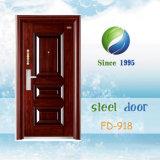 China mais barata de aço única porta de metal da Porta de segurança da porta de ferro porta da sala da Porta de Entrada (FD-918)