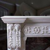 Lareira em mármore branco para House/Villa Decoração de sala de estar