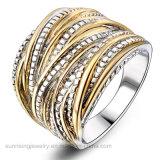 De metal dorado con forma de flor de cristal grueso anillo mayorista
