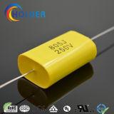 Condensadores de polipropileno metalizada axial (CBB20 805J/250V) con alambre de cobre amarillo RoHS para ejecutar (CBB20 Series)