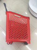贅沢なスーパーマーケットの車輪が付いているプラスチック買物かご