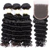 深い巻き毛の質で編む10Aペルーの毛