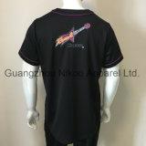 De uitstekende kwaliteit sneed de Naaiende Geborduurde Zwarte Overhemden van het Honkbal