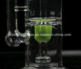 Conduite d'eau en verre de couleur de fumage de recycleur en verre propre pourpré rose vert de pipe par Czshiningglass
