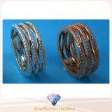 Juwelen Drie Ring 925 de Echte Zilveren Ring R10498 van de Manier van de Verkoop van China Gehele van de Steen van de Rij van Juwelen