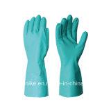 Зеленый нитриловые перчатки рабочие перчатки промышленной безопасности