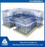 Casa de la estructura de acero, luces y chalet de acero prefabricado de la casa de la construcción