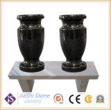 China El granito negro Angel lápida/monumento/lápida con Jarrón y estatua