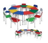 Colorfulchildrenの家具の木表および椅子セット