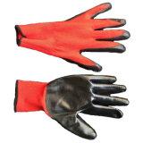 Нитриловые черного цвета с покрытием красного полиэстера вязаные рукавицы 13 стекло