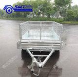 Boîte à essieu simple cage en acier galvanisé avec rampe de maillage de remorque