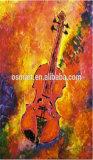 Mejor calidad de diseño único pintado a mano Resumen de la imagen de aceite de Violín Guitarra Instrumentos Musicales Pinturas Abstractas pinturas murales para el hogar decoración Caffe