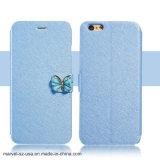 iPhoneのための贅沢な水晶ダイヤモンドの蝶革札入れの箱の電話箱8 7
