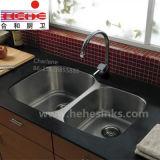 Doppio dispersore di cucina popolare dell'acciaio inossidabile della ciotola, dispersore della lavata, dispersore della barra