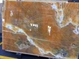 Onxyの平板のタイルのカウンタートップの贅沢な装飾の石の本マッチの赤いOnxyの大理石のオレンジOnxy