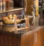 Cremagliera di spezia di legno decorativa da tavolo della cucina 2-Tier di memoria domestica