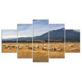 5 لوح حديثة [هد] فنية طبعة نوع خيش سرب من خروف فنية جدار يشكّل صورة زيتيّة لأنّ يعيش غرزة جدار صورة [ن-11]