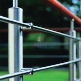ステンレス鋼の固体棒の塀を柵で囲む現代家のステアケース