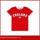 T-shirt 100% de confeção de malhas do algodão curto macio de Crewneck das luvas de Jersey (R138)