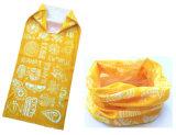 工場農産物はデザインプリント黄色ポリエステル管の継ぎ目が無いバンダナをカスタマイズした