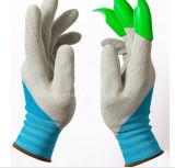 Gant de jardin de polyester de 13 mesures avec de la mousse enduite