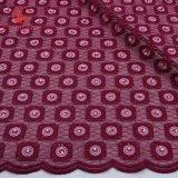 l'azzurro dello zaffiro di modo borda il tessuto svizzero del merletto di Tulle di griglia per vestiti