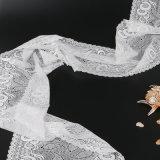 Het witte Goed van de Stof van het Kant van het Patroon van de Maan Nylon voor Sari Textile