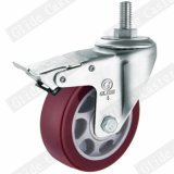 Rodízio médio da roda do plutônio do dever com o freio lateral (vermelho) (G3202)