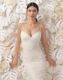 Courroie de spaghetti perlant la robe de mariage de robe nuptiale de lacet de sirène