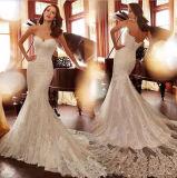 Perlés sans bretelles de sirène de robe nuptiale de lacet lacent vers le haut la robe de mariage arrière Y213