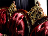 Sb25 de color oscuro lacado de madera maciza tallada a mano tejido real clásico Sofá