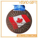 印刷の締縄(YB-LY-C-06)が付いているカスタム記念品の銀メダル