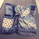Pesponto Quadrado Azul Casal artesanal geométrica de caju Pendão Floresta Retro lenço de algodão