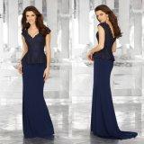 Perlando o vestido de noite do azul de marinha das senhoras da sereia da matriz da V-Garganta
