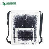 Schwarze u. weiße geometrische Muster-Polyester-Vorderseite-Taschedrawstring-Beutel-Großhandelstasche für Jungen u. Mädchen