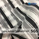 Черно-белая полоса Organza Overlock для мода одежды