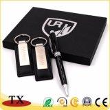 金属のクリップおよびペンが付いている特別な金属の革キーホルダー